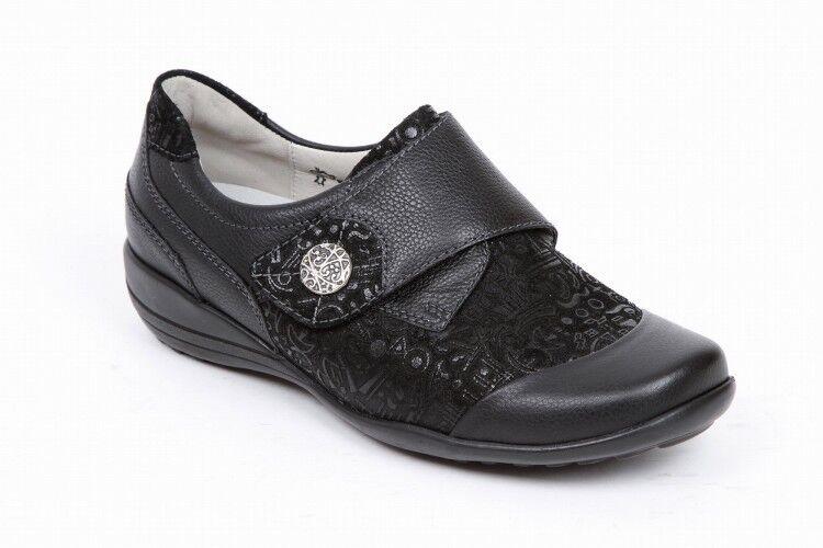 Waldlaufer 601307 de ancho ancho ancho de cuero negro de montaje Nubuck Zapatos con Plantillas Extraíbles  ahorrar en el despacho