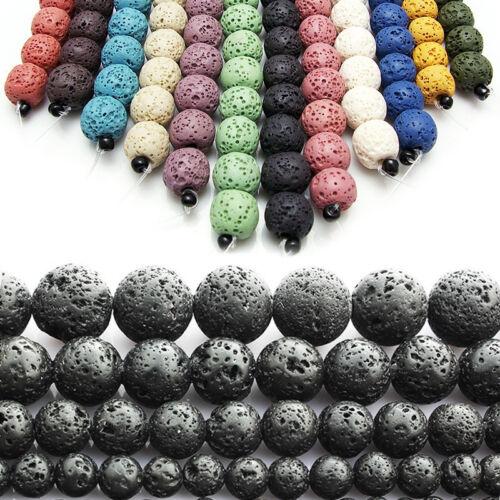 Neue natürliche vulkanische Lava Edelstein Runde Ball Spacer Perlen 6 8 10 12mm