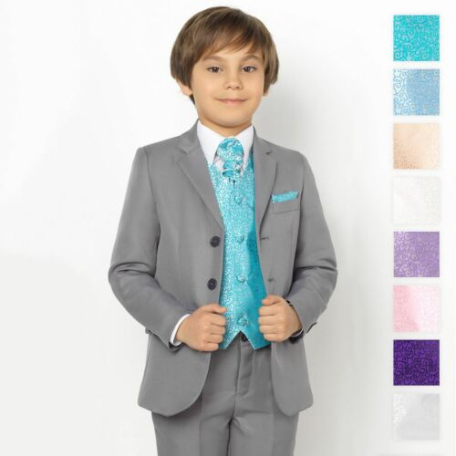 Boys Grey Suit Page Boy Suits Boys Prom Suits Swirl Waistcoat Set