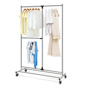 Heavy Duty Dual Bar Adjustable Garment Rack Rolling Clothes Organizer On Wheels