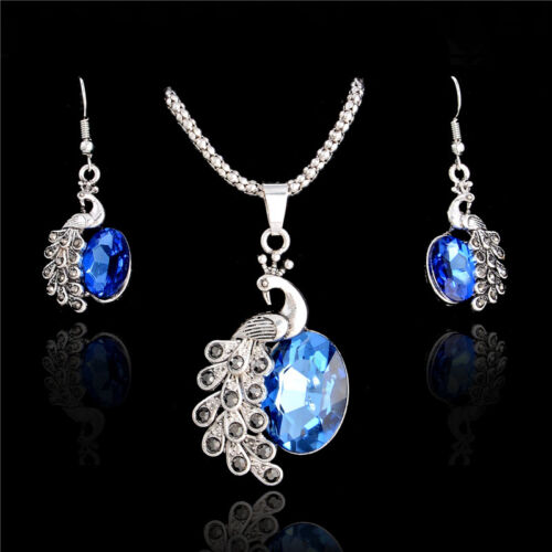 Women Crystal Rhinestone Gold Plated Drop Earrings+Pendant Necklace Jewelry Set