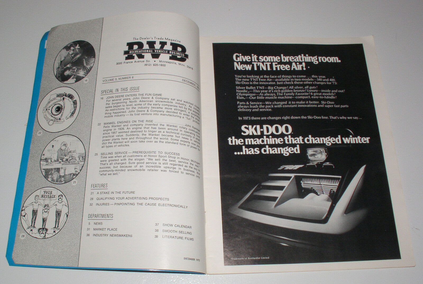 1972 Vintage, Very Rare Snowmobiling Magazine RVB Collectible
