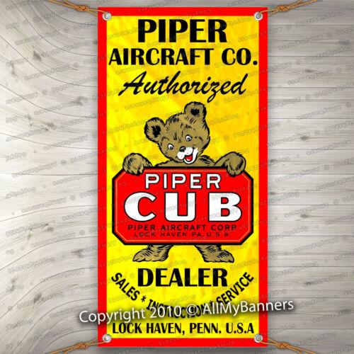 piper cub airplane aircraft vintage sign remake old school banner garage art fix