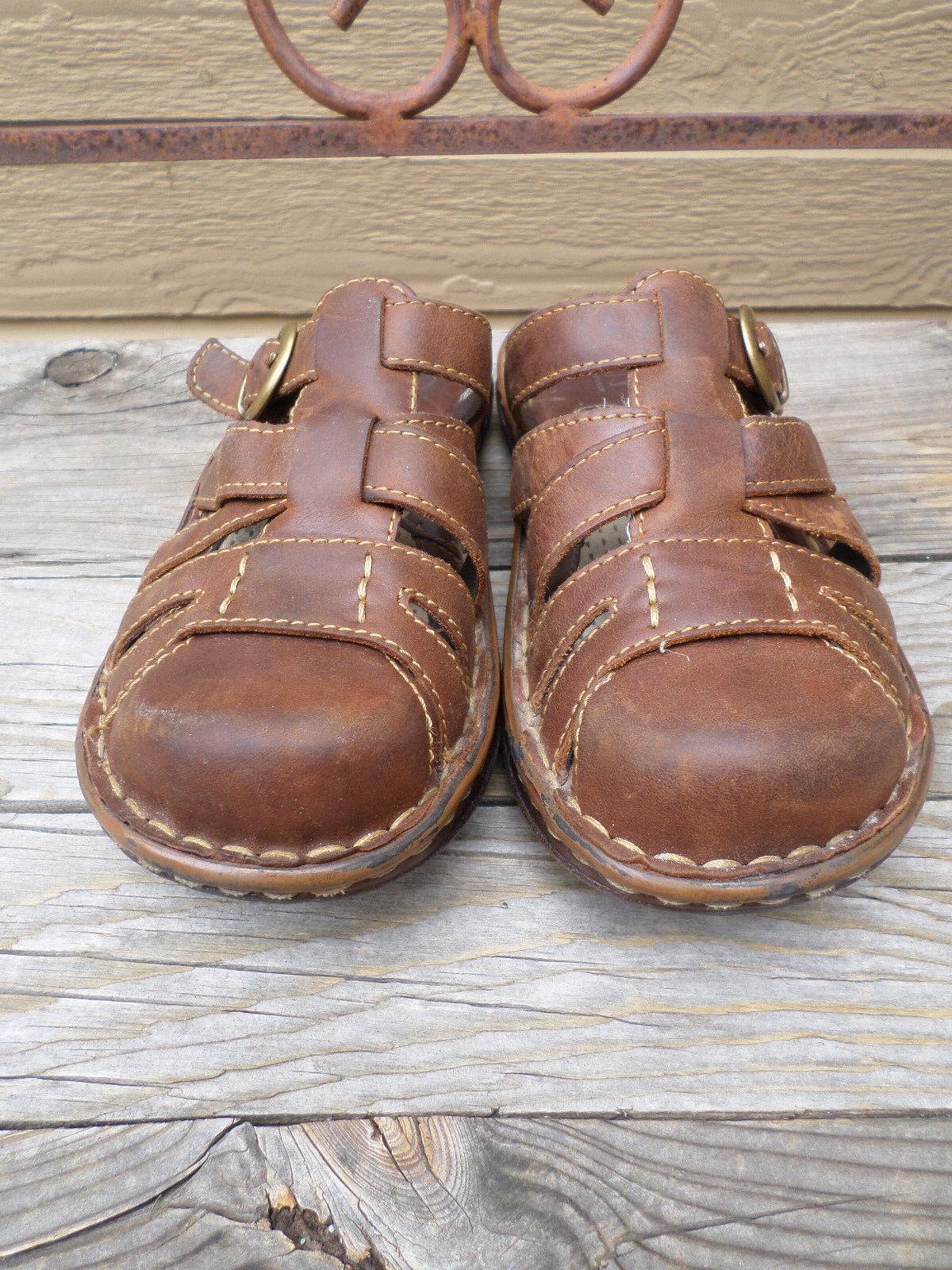 Born Brown Fisherman Leather Fisherman Brown Slides Sandals Women's 7 M 27b6db