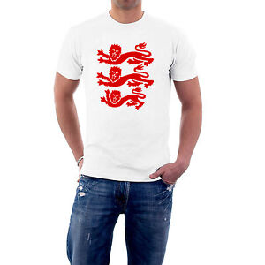BARGAIN-OFFER-England-T-shirt-Heraldic-3-Lions-XL-WHITE-RED-Sillytees