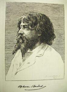 Portraet-D-039-Alphonse-Daudet-Atzradierung-Forte-Original-von-1888-F-Charlers-Nimes