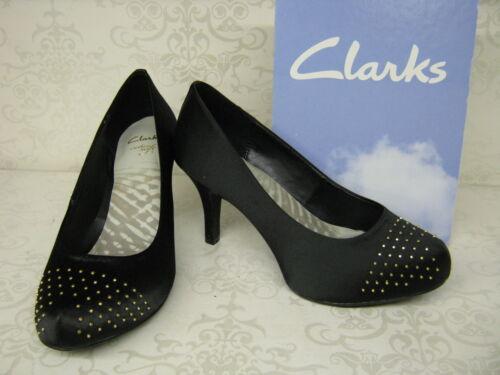 Clarks Drum Time Dark Black Satin Fabric Smart Court Shoes