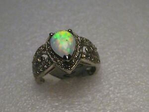 Sterling-Filigree-Fire-Opal-Ring-Created-Sz-7-m-2-85-gr-India-Mid-East-Look