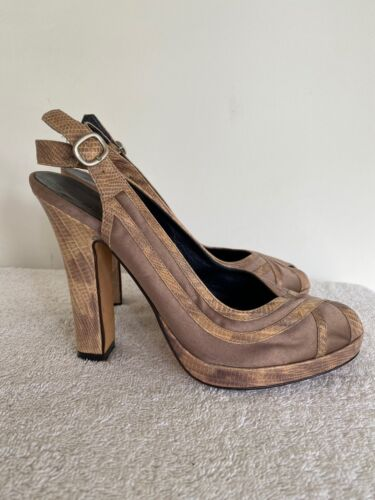 Details about  /Cole Haan $225 Sling Back Heel Peep toe tan and snake skin Size 8B Pump Shoes