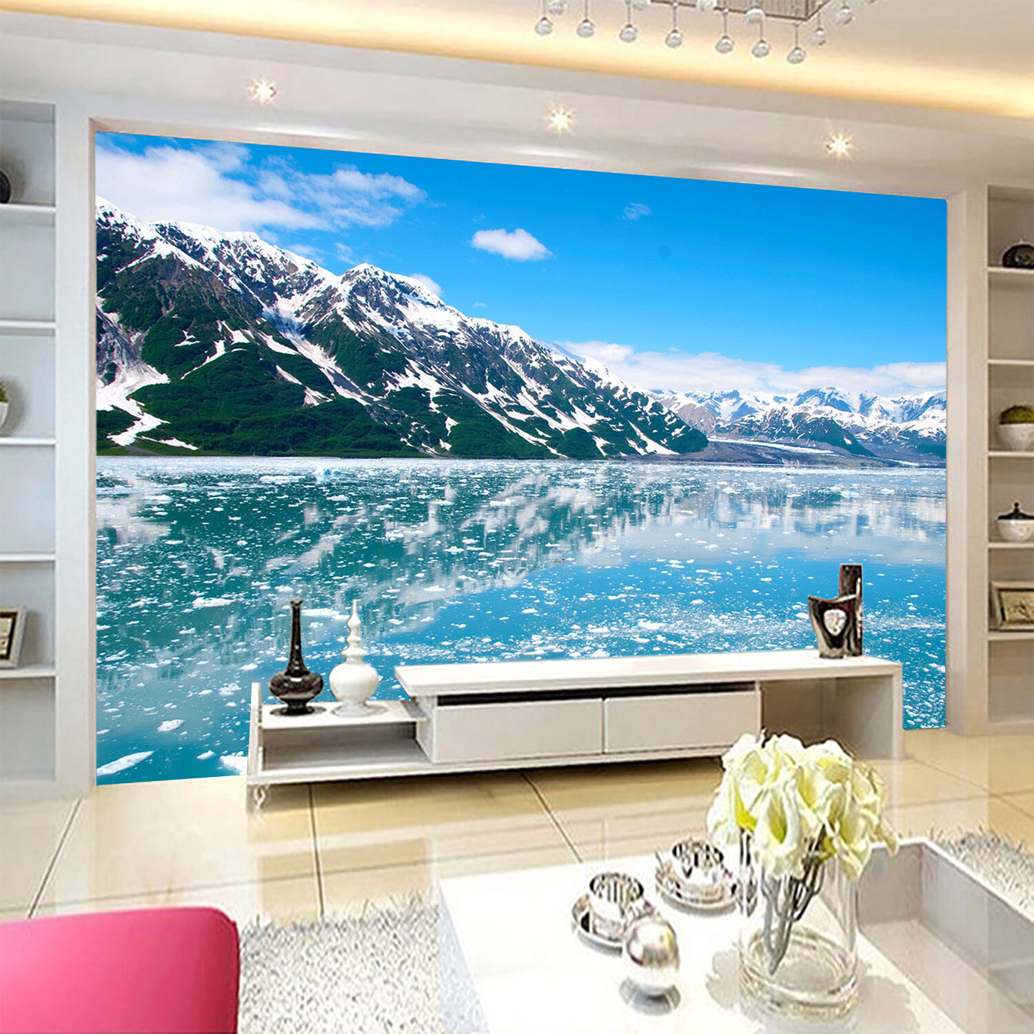 3D lake ice Snow Mountain Wall Paper Print Decal Wall Deco Indoor wall Mural