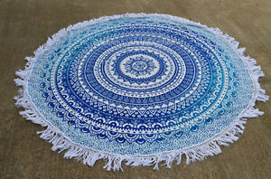 Indian-Traditional-Cotton-Ombre-Mandala-72-034-Round-Tapestry-Throw-Yoga-Beach-Mat