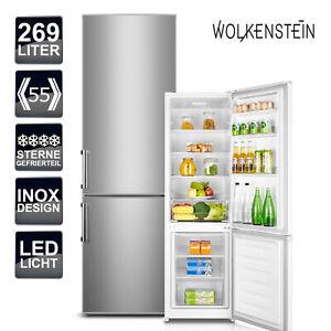 Kühlschrank Kühl-Gefrierkombination Wolkenstein KGK 280 A+++  Inox Design