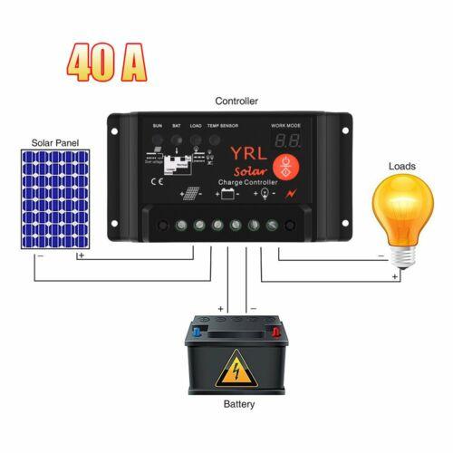 40A PWM Solar Panel Battery Regulator Charge Controller Safe Protection 12V//24V