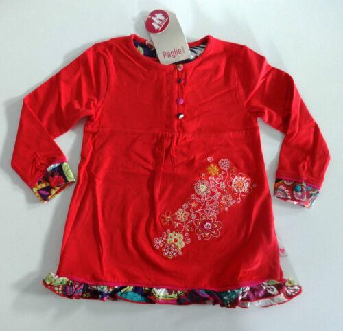 neu PAGLIE Mini pink Langarm Shirt Tunika Gr 68 74 80 86 92 98 Blumen Rüschen