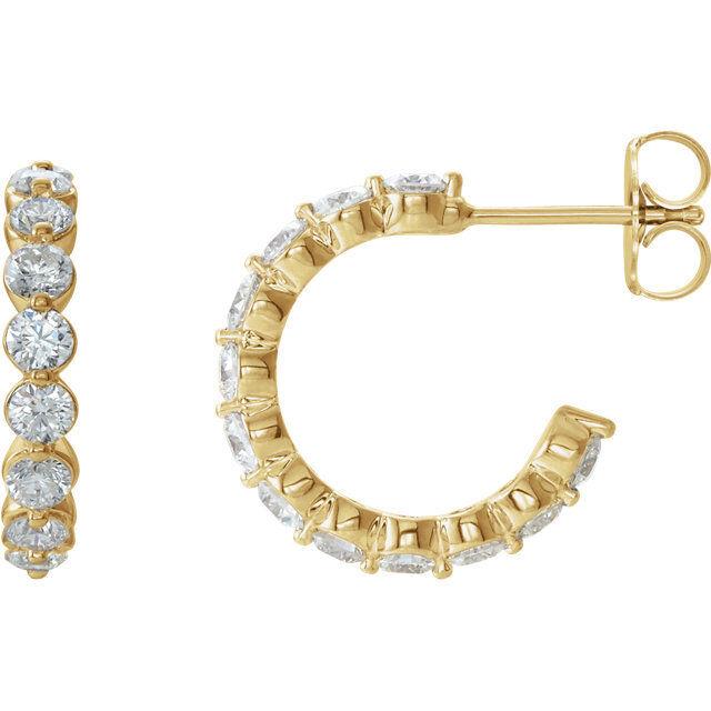 Diamond J-Hoop Earrings In 14K Yellow gold (1 3 8 ct. tw.)