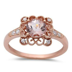 .88ct F VS Morganite & Round Diamond 14kt Rose Gold Engagement Ring Size 6.5