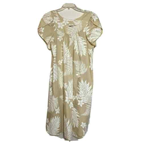 Vintage Hilo Hattie XL Muumuu Dress Beige Floral A