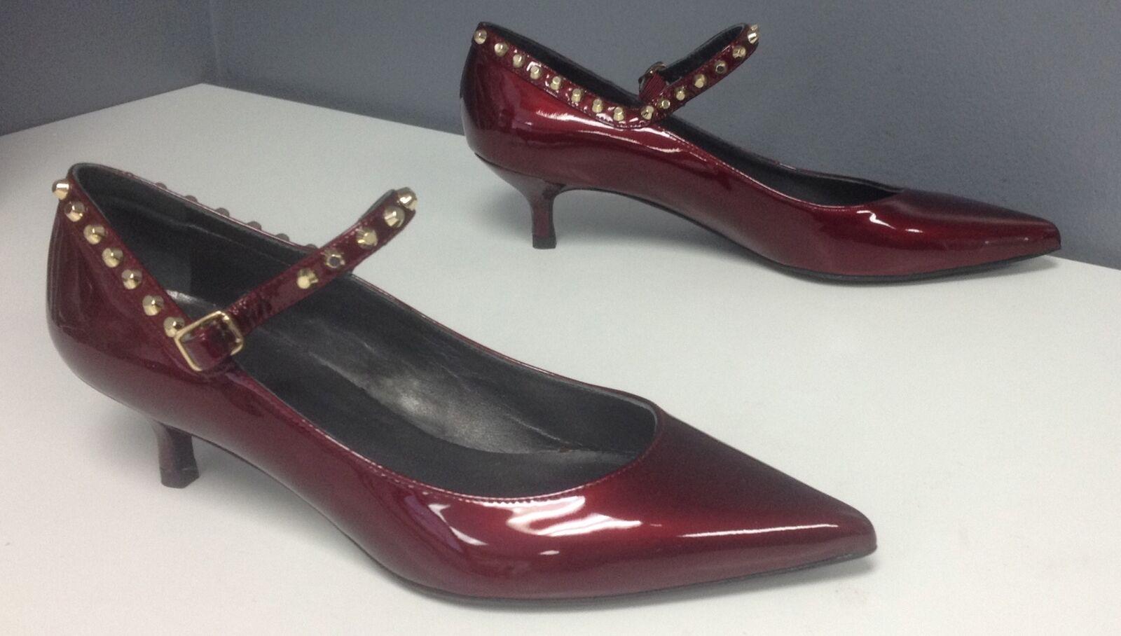 STUART WEITZMAN NWOB Red Patent Studded Kitten Heel Mary Janes Sz 38.5 B4697