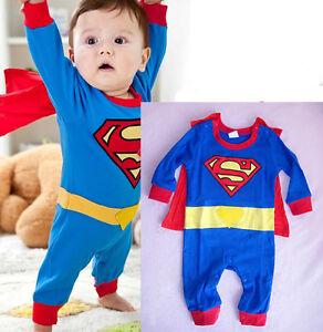 Image is loading Newborn-Baby-Boy-Superman-Costume-Kids-Bodysuit-Children-  sc 1 st  eBay & Newborn Baby Boy Superman Costume Kids Bodysuit Children Romper ...
