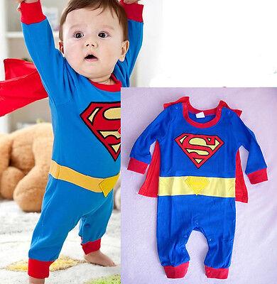 Newborn Baby Boy Romper Superman Halloween Cartoon Costume Kids Children Clothes