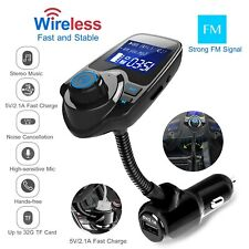 Wireless In-Car FM Transmitter MP3 Radio Adapter Car Fast USB Charger AUX-In TF