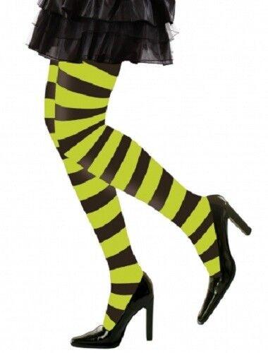 Black and Green Striped Tights Halloween Hosiery XL Plus Size Fancy Dress 16-20
