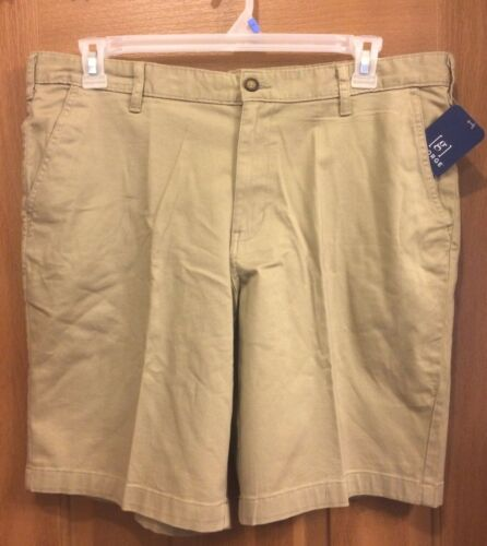 George Above The Knee Flat Front Sand Khaki Men/'s Stretch Shorts NEW
