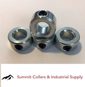 "5//8/"" Solid Shaft Collar Solid With Set Screw Zinc Plated Stop Collar qty 2"