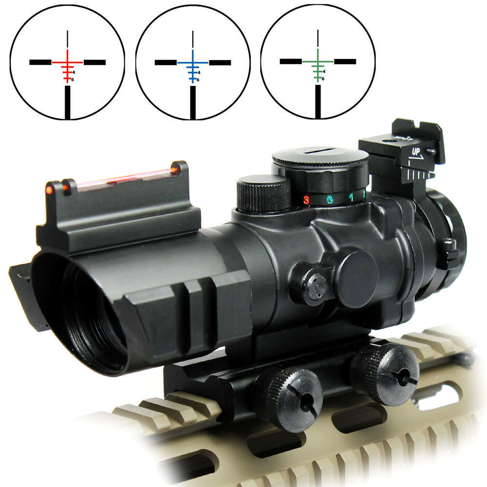 Outdoor 4x32 Tactical Rifle Scope Red Green bluee Illuminated Chevron Reticle