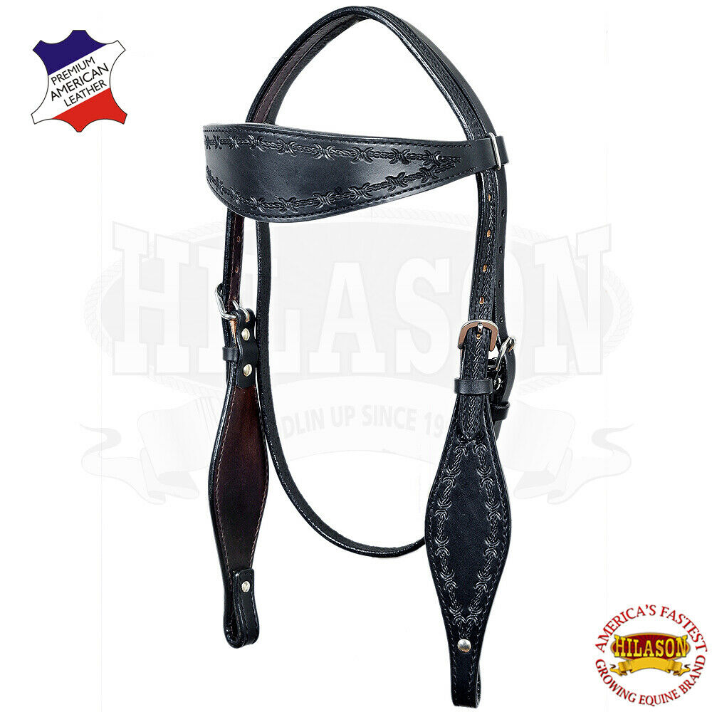 U-K-HS hilason Western Cheval Têtière Bride AMERICAN cuir Barb Wire Noir