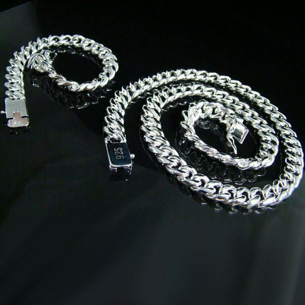 beautiful Fashion silver 10MM chain Men Bracelet Necklace jewelry set noble hot