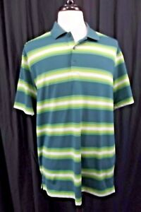 Nike-Golf-Mens-Polo-Shirt-Large-Green-Striped-Short-Sleeve-S-S-Dri-Fit-Active