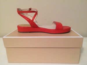 4263d4543c25 Image is loading MICHAEL-KORS-KAYLEE-RED-CASUAL-LEATHER-FLATS-SANDALS-