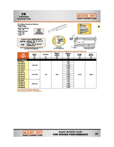 "1/"" Depth .039//.041/"" Full Radius Micro-100 Carbide Grooving Tool"