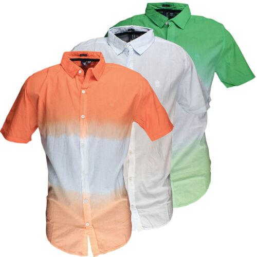 Mens Shirt Ombre Dip Dyed Summer Cotton Short Sleeve Top