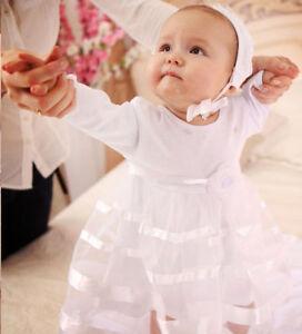 bcc19a159590 Baby Girl Christening Dress White Cotton Baptism Dress for Baby Girl ...