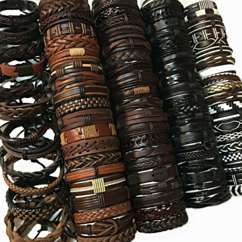 Random 50PCS//lot Mix Styles Braided Leather Bracelets For Men Women Party Gifts