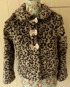 8761fc24d6e1 MONSOON LEOPARD SIMULATED FUR JACKET / COAT with GOLD satin lining ...