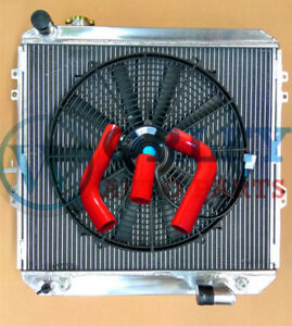 50mm-Aluminum-Radiator-Red-Hose-One-Fan-for-HILUX-LN106-LN111-Diesel-1988-1997