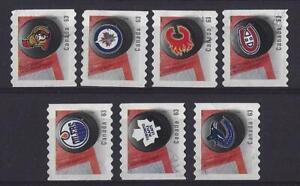 Kanada-2013-National-Hockey-Liga-Set-7-Spule-Briefmarken-Fein-Gebraucht
