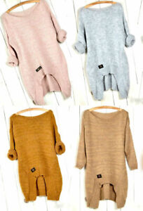Neu-Damen-Strickpulli-warm-kuschelig-Pullover-Asymmetrisch-Tunika-MLXL