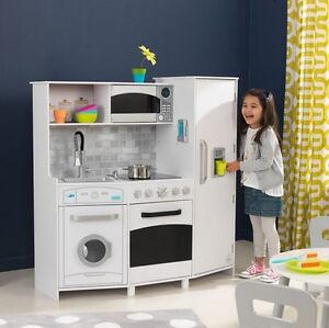 Kidkraft 53369 Kids Toddler Pretend Play Large White Kitchen Lights Sounds