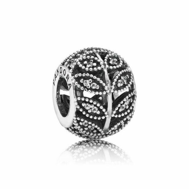 f50545797 Authentic Pandora Sparkling Leaves, Clear CZ .925 Silver Charm - 791380CZ -  NEW