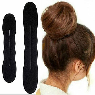 2PCS Magic Sponge Clip Foam Donut Hair Styling Bun Maker Curler Tool Ring Twist