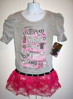 Girl Dress Grey Pink Tulle Angel Unit Peace Love Liquid Gold 7/8 10/12