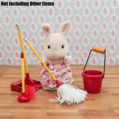 3pcs 1:12 Dolls House Miniature Cleaning Tools Mop Broom Toilet Plunger