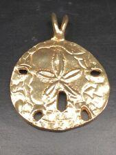 14k Yellow Gold Filigree Sand Dollar Pendant With Maltese Style Border 15x15mm