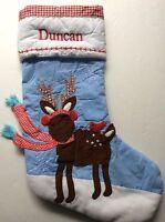 Pottery Barn Kids Christmas Deer Stocking Duncan Blue
