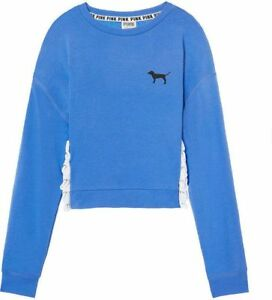 e36202e0e4bc3 Details about Victoria Secret PINK Slouchy Lace Up Crew Sweatshirt Blue S 4  6 M 7 9 White Dog