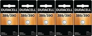 5 Duracell 390 389 SR1130SW SR1130W Button Cell Silver Oxide Batteries